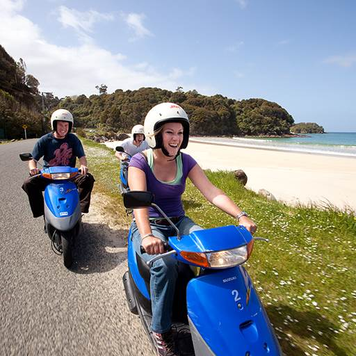 Motor scooters are available to hire on Stewart Island
