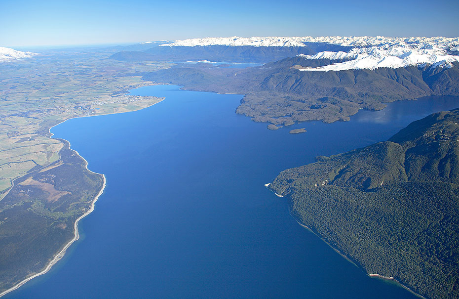 Aerial photo of Lake Te Anau with mountain ranges