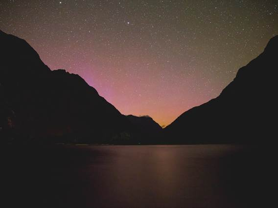 Southern Lights in Milford Sound